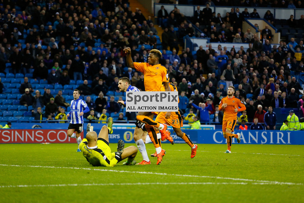 Gary Hooper scores the fourth during Sheffield Wednesday v Wolves, SkyBet Championship, Sunday 20th December 2015, Hilsborough, Sheffield