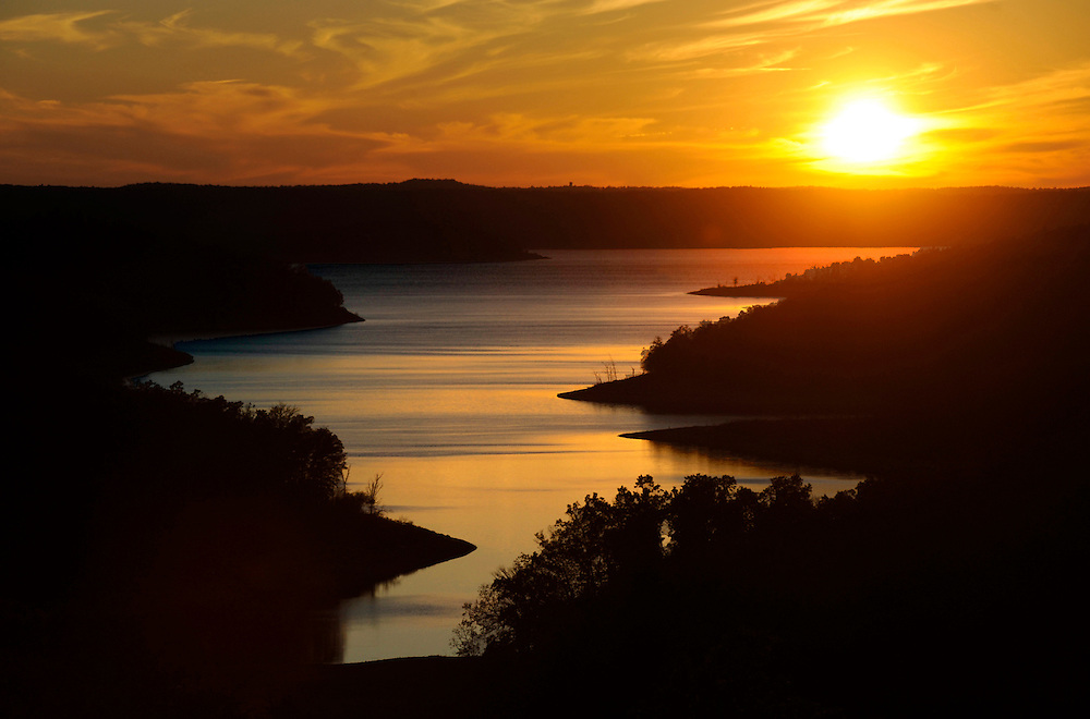 Sunset over Norfork Lake in Baxter County, Ark.