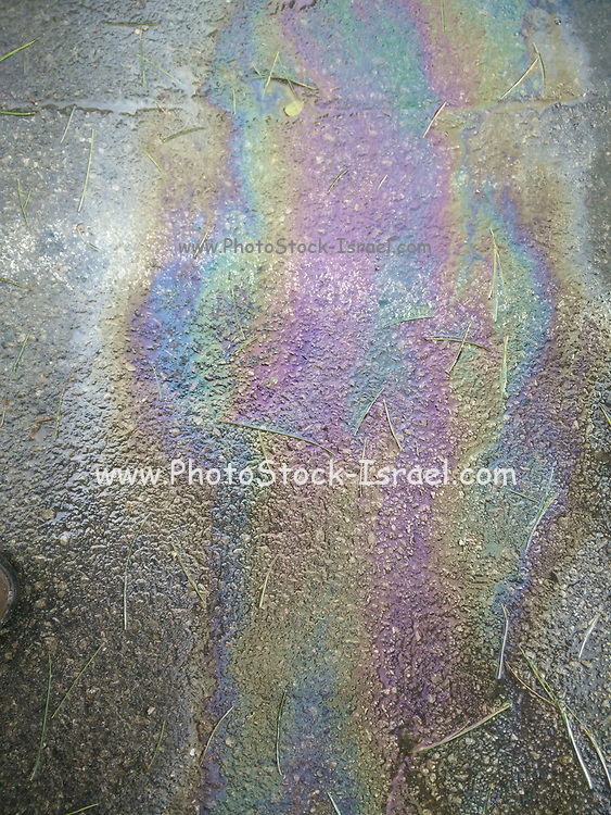 Oil Spill rainbow colors on tarmac