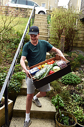 Life in coronavirus lockdown in the UK April 2020. Fruit and veg delivery to homes under lockdown UK