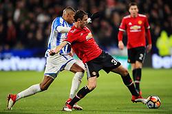 Nemanja Matic of Manchester United and Colin Quaner of Huddersfield Town - Mandatory by-line: Matt McNulty/JMP - 17/02/2018 - FOOTBALL - The John Smith's Stadium - Huddersfield, England - Huddersfield Town v Manchester United - Emirates FA Cup Fifth Round