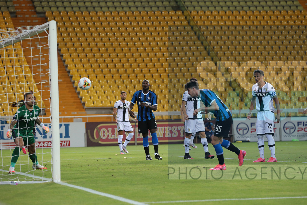 Inter's Italian defender Alessandro Bastoni heads the ball into the net to give the side a 2-1 lead during the Serie A match at Stadio Ennio Tardini, Parma. Picture date: 28th June 2020. Picture credit should read: Jonathan Moscrop/Sportimage