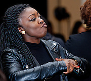 """Karen Opoku dances to the sounds of DJ """"Superstar Smit"""" at the All Black Affair at Baker Center Ballroom  at Ohio University on Friday, January 29, 2016. © Ohio University / Photo by Sonja Y. Foster"""