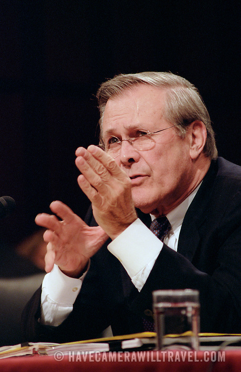 Donald Rumsfeld, Secretary of Defense, testifying before the 9/11 Commission's Public Hearing Number 8 on Tuesday, 23 March 2004.