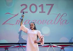 Winner Manca Šepetavc celebrates during Miss sports event, on April 22, 2017 in Cankarjev dom, Ljubljana, Slovenia. Photo by Vid Ponikvar / Sportida