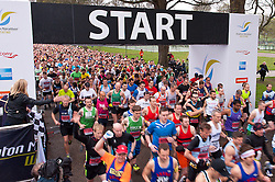 © Licensed to London News Pictures. 06/04/2014. Brighton, UK. Paula Radcliffe starts the race. The weather is cool for runners of this year's Brighton Marathon.. Photo credit : Graham M. Lawrence/LNP