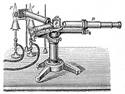 Spectroscopic apparatus  used by used by Robert Wilhelm Bunsen (1811-1899) and Gustav Robert Kirchhoff (1824-1887). Discovered Spectrum Analysis (1859) which enabled discovery of elements including caesium and rubidium.  Engraving c1895.