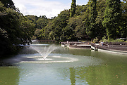 Photo shows one of the fountains that grace the lake inside Inokashira Park in the trendy neighborhood of Kichijoji in Musashino City,  Tokyo, Japan on 16 Sept. 2012.  Photographer: Robert Gilhooly