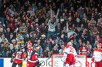 KELOWNA, CANADA - NOVEMBER 9: Team WHL fans celebrate a goal against the Team Russia on November 9, 2015 during game 1 of the Canada Russia Super Series at Prospera Place in Kelowna, British Columbia, Canada.  (Photo by Marissa Baecker/Western Hockey League)  *** Local Caption *** fans