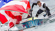 ENGLAND, Weymouth. 1st August 2012. Olympic Games. 49er Class. Trevor Moore (USA) Crew.