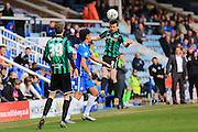 Joe Rafferty wins a header during the Sky Bet League 1 match between Peterborough United and Rochdale at London Road, Peterborough, England on 9 April 2016. Photo by Daniel Youngs.