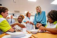 ROTTERDAM - Koningin Maxima bij een locatie van het Albeda College tijdens een werkbezoek aan het Nationaal Programma Rotterdam Zuid. ANP ROYAL IMAGES ROBIN UTRECHT **NETHERLANDS ONLY**