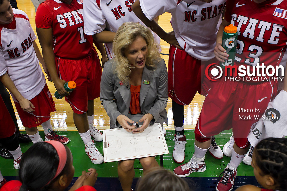 during the 1st round game between North Carolina State and Florida State in the 2012 ACC Women's Basketball Tournament in Greensboro, North Carolina.  NC State won 74 - 71.  March 01, 2012  (Photo by Mark W. Sutton)