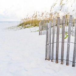 Wood beach fence and beach grass photo in Pensacola Beach Florida. Pensacola Beach is a coastal city in the Emerald Coast area of the Southeastern United States. Photo is vertical and high resolution. Copyright ⓒ 2018 Paul Velgos with All Rights Reserved.