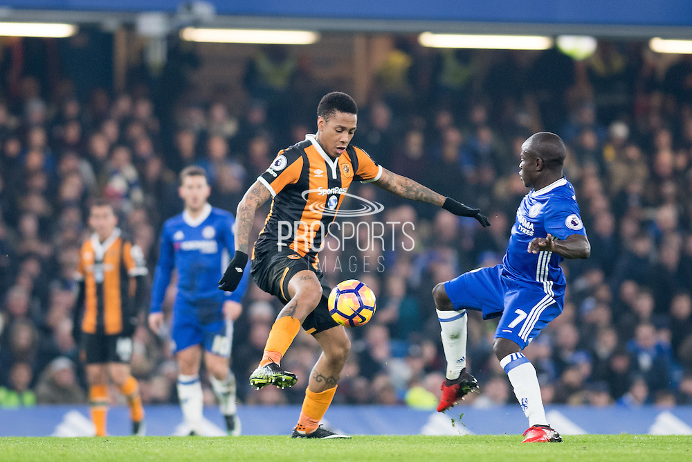Chelsea midfielder Ngolo Kante (7), Hull City forward Abel Hernandez (9) during the Premier League match between Chelsea and Hull City at Stamford Bridge, London, England on 22 January 2017. Photo by Sebastian Frej.