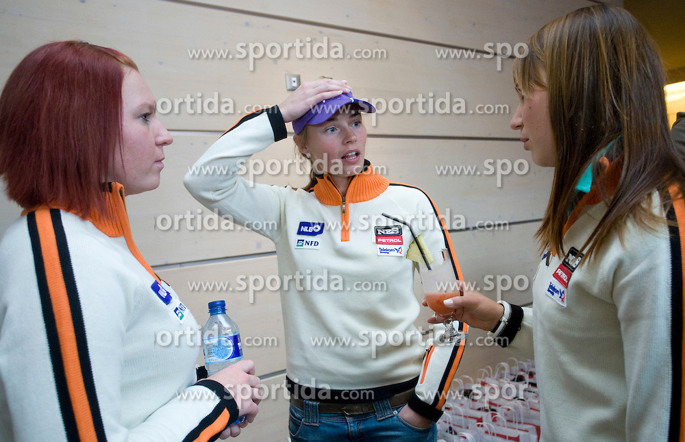 Marusa Ferk, Tina Maze and Mateja Robnik of Slovenian Alpine Ski Team before new season 2008/2009, on Septembra 25, 2008, Ljubljana, Slovenia. (Photo by Vid Ponikvar / Sportal Images)