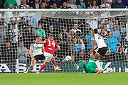 Bristol City forward Andreas Weimann (14) shoots and scores a goal 0-1 during the EFL Sky Bet Championship match between Derby County and Bristol City at the Pride Park, Derby, England on 20 August 2019.
