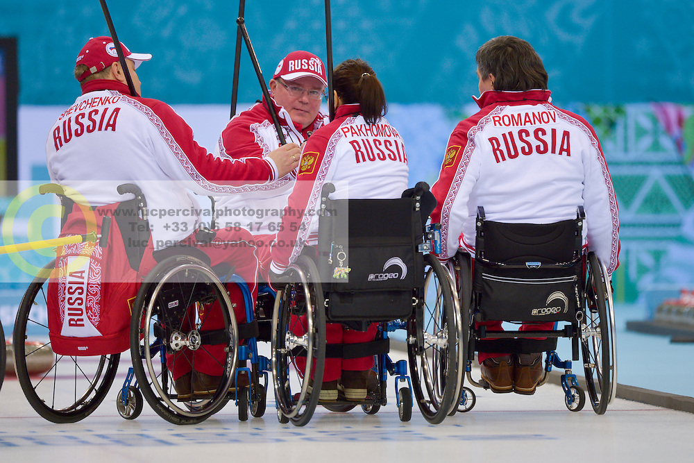 Alexander Shevchenko, Marat Romanov, Andrey Smirnov, Svetlana Pakhomova, Wheelchair Curling Semi Finals at the 2014 Sochi Winter Paralympic Games, Russia