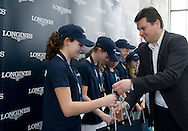 (R) Leszek Pilch while victory ceremony during the Longines Future Tennis Aces 2014 at Tuan Tennis Club in Jozefoslaw near Warsaw on April 12, 2014.<br /> <br /> Poland, Warsaw, April 12, 2014<br /> <br /> Picture also available in RAW (NEF) or TIFF format on special request.<br /> <br /> For editorial use only. Any commercial or promotional use requires permission.<br /> <br /> Mandatory credit:<br /> Photo by © Adam Nurkiewicz / Mediasport