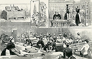 Scenes in a commercial laundry, London, 1884.
