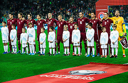 Team Latvia during the 2020 UEFA European Championships group G qualifying match between Slovenia and Latvia at SRC Stozice on November 19, 2019 in Ljubljana, Slovenia. Photo by Vid Ponikvar / Sportida