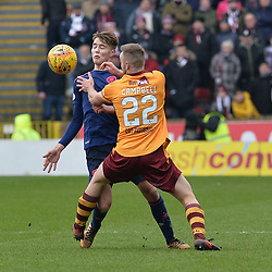 Allan Campbell (Motherwell) and Harry Cochrane (Hearts) during the Scottish Cup quarter final between Motherwell and Hearts at Fir Park, where the home side made it into the semi final draw with a win.<br /> <br /> (c) Dave Johnston | sportPix.org.uk
