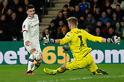 George Long of Hull City come off the line and makes a save as Mason Mount of Chelsea has a shot at goal during the The FA Cup match between Hull City and Chelsea at the KCOM Stadium, Kingston upon Hull, England on 25 January 2020.