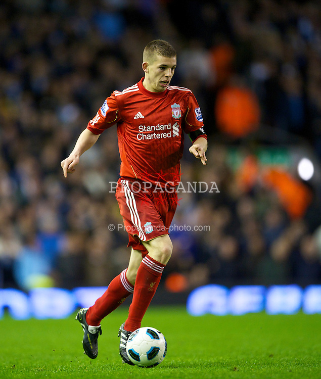 LIVERPOOL, ENGLAND - Monday, April 11, 2011: Liverpool's John Flanagan makes his first team debut during the Premiership match against Manchester City at Anfield. (Photo by David Rawcliffe/Propaganda)