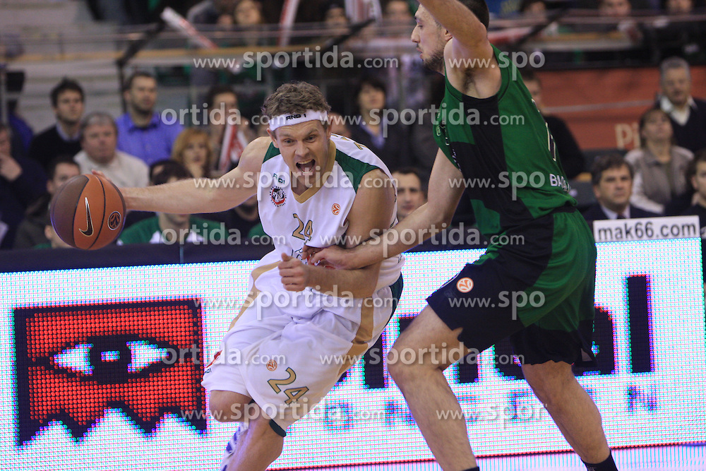 Miha Zupan and Luka Bogdanovic at basketball match of 6th Round of Group C in Euroleague between KK Union Olimpija and DKV Joventut, on December 4, 2008 in Arena Tivoli, Ljubljana, Slovenia. Union Olimpija : DKV Joventut 65:86. (Photo by Vid Ponikvar / Sportida)