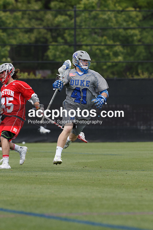 DURHAM, NC - MAY 03: Greg Rhodes #41 of the Duke Blue Devils plays against the Boston University Terriers on May 03, 2015 at Koskinen Stadium in Durham, North Carolina. Duke won 13-7. (Photo by Peyton Williams/Getty Images)  *** Local Caption *** Greg Rhodes