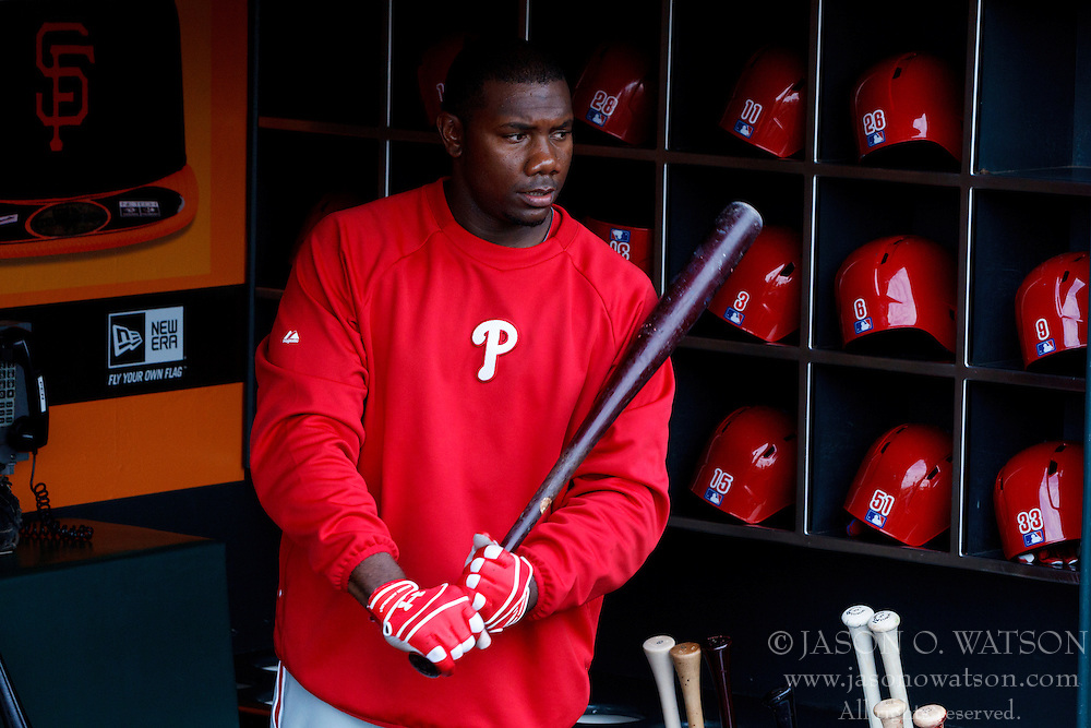 SAN FRANCISCO, CA - MAY 06: Ryan Howard #6 of the Philadelphia Phillies stands in the dugout before the game against the San Francisco Giants at AT&T Park on May 6, 2013 in San Francisco, California. The Philadelphia Phillies defeated the San Francisco Giants 6-2. (Photo by Jason O. Watson/Getty Images) *** Local Caption *** Ryan Howard