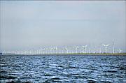 Nederland, Urk, 25-8-2011 Het windmolenpark van Essent aan de dijk langs het ijsselmeer. De stroomproducent is van plan dit te vervangen door windmolens die aanzienlijk groter zijn. Er is veel bezwaar vanuit de bevolking tegen dit plan. Foto: Flip Franssen/Hollandse Hoogte
