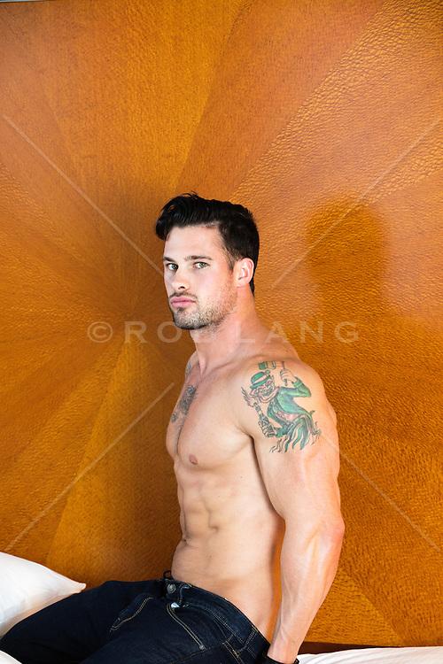 shirtless sexy man at home