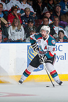KELOWNA, CANADA - MAY 13: Colten Martin #8 of Kelowna Rockets stops on the ice with the puck against the Brandon Wheat Kings on May 13, 2015 during game 4 of the WHL final series at Prospera Place in Kelowna, British Columbia, Canada.  (Photo by Marissa Baecker/Shoot the Breeze)  *** Local Caption *** Colten Martin;