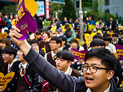 """10 OCTOBER 2018 - SEOUL, SOUTH KOREA: The Wednesday protests have been taking place since January 1992. Protesters want the Japanese government to apologize for the forced sexual enslavement of up to 400,000 Asian women during World War II. The women, euphemistically called """"Comfort Women"""" were drawn from territories Japan conquered during the war and many came from Korea, which was a Japanese colony in the years before and during the war. The """"comfort women"""" issue is still a source of anger of many people in northeast Asian areas like South Korea, Manchuria and some parts of China.         PHOTO BY JACK KURTZ   <br /> Wednesday Demonstration demanding Japan to redress the Comfort Women problems"""