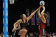 Magic goal keep Kelly Jury tries to block a shot from Tactix goal shoot Ellie Bird during the ANZ Premiership netball match - Magic v 170529 ANZ Premiership - Magic v Tactix played at Claudelands Arena, Hamilton, New Zealand on Monday 29 May 2017. Copyright photo: Bruce Lim / www.photosport.nz