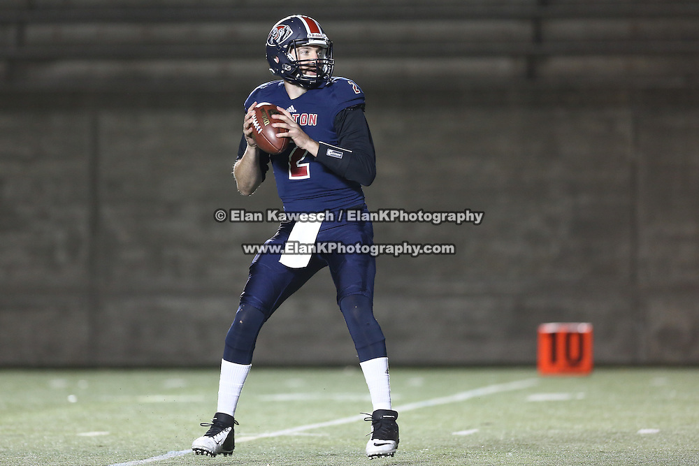Carson Coffman #2 of the Boston Brawlers looks to throw the ball during the first ever Boston Brawlers home game at Harvard Stadium on October 24, 2014 in Boston, Massachusetts. (Photo by Elan Kawesch)