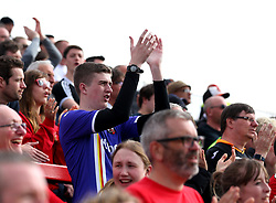 Exeter City fans - Mandatory by-line: Robbie Stephenson/JMP - 14/04/2018 - FOOTBALL - Wham Stadium - Accrington, England - Accrington Stanley v Exeter City - Sky Bet League Two