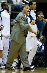 January 9, 2010; Berkeley, CA, USA;  California Golden Bears head coach Mike Montgomery during the first half against the Southern California Trojans at the Haas Pavilion.  California defeated USC 67-59.