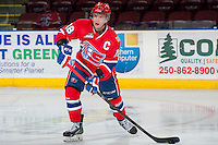 KELOWNA, CANADA - MARCH 5: Reid Gow #18 of the Spokane Chiefs warms up against the Kelowna Rockets on March 5, 2014 at Prospera Place in Kelowna, British Columbia, Canada.   (Photo by Marissa Baecker/Getty Images)  *** Local Caption *** Reid Gow;