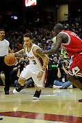 Apr 27, 2010; Cleveland, OH, USA; Cleveland Cavaliers guard Delonte West (13) drives against Chicago Bulls forward Luol Deng (9) during the second period in game five in the first round of the 2010 NBA playoffs at Quicken Loans Arena.  Mandatory Credit: Jason Miller-US PRESSWIRE