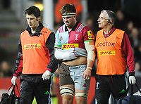 Rugby Union - 2017 / 2018 Aviva Premiership - Harlequins vs. Sale Sharks<br /> <br /> Jack Clifford of Quins leaves the field with an arm injury at The Stoop.<br /> <br /> COLORSPORT/ANDREW COWIE
