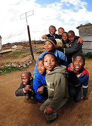 Local kids in Rocklands a Township outside of Bloemfontein South Africa on 23 June 2009, during the 2009 Confederations cup in South Africa. Photo:Gerhard Steenkamp/Superimage Media
