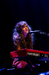 © Licensed to London News Pictures. 16/04/2012. London, UK. Rae Morris performs live at the Royal Albert Hall, supporting headline act Noah and the Whale.  Rae is a young singer-songwriter from Blackpool.  Photo credit : Richard Isaac/LNP