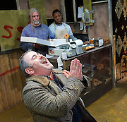 Superior Donuts<br /> by Tracy Letts<br /> UK Premier<br /> at The Southwark Playhouse, London, Great Britain <br /> press photocall<br /> 13th February 2014 <br /> <br /> Nick Cavaliere as Max Tarasov<br /> Sarah Ball as Officer Randy Osteen<br /> Alexander james Smith as Officer James Bailey<br /> Amanda Walker as Lady Boyle<br /> Mitchell Mullen as Arthur Przybyszewski<br /> David Partridge as Luther Flynn<br /> Tom Shepherd as Kevin Magee<br /> TJ Nelson as Kiril Ivakin<br /> Jonathan Livingstone as Franco Wicks <br /> <br /> Photograph by Elliott Franks