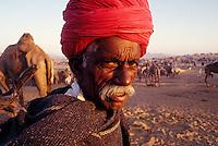 A cameltrader at the Pushkar camelfair, Rajasthan, India. 1995