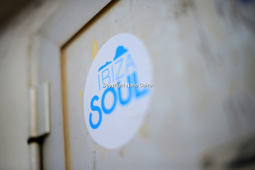 Sticker on wall reads Ibiza Soul