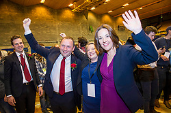 Pictured: Ian Murray and his partner Hannah Woolfson were joined by Kezia Dugdale<br /> The Edinburgh Count and  announcements ended  around 4:30 this morning with weary heads around all parties.<br /> <br /> Ger Harley | EEm 9 June 2017