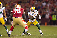 12 January 2013: Linebacker (54) Dezman Moses of the Green Bay Packers in game action against the San Francisco 49ers during the second half of the 49ers 45-31 victory over the Packers in an NFL Divisional Playoff Game at Candlestick Park in San Francisco, CA.