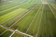 Nederland, Utrecht, Groene Hart, 04-03-2008; polder omgeving Harmelen, de mest wordt niet langer uitgereden en verspreid over het weiland (het gieren) maar geinjecteerd; let op de slang waardoor de gier gepompt wordt, van de verderop gelegen mesttank (bij de boerderij), naar de tractor; op deze wijze wordt luchtverontreiniging door o.a. ammoniak tegengegaan..mestboekhouding, mineraalboekhouding, meststof, trekker, mest injectie, verkaveling, kavel, amoniak, koeienmest, poep, stront, vlaai. .luchtfoto (toeslag); aerial photo (additional fee required); .foto Siebe Swart / photo Siebe Swart